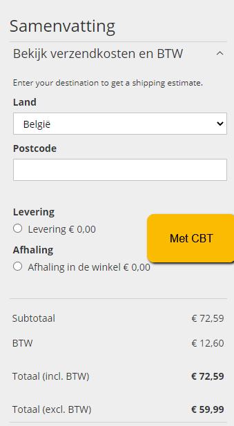 Magento 2 - prijs exclusief btw - met cbt Belgie