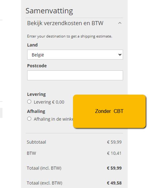 Magento 2 - prijs inclusief btw - zonder cbt Belgie