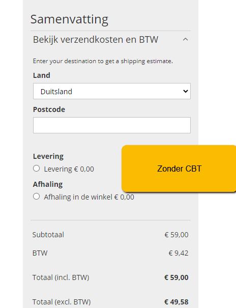 Magento 2 - prijs inclusief btw - zonder cbt Duitsland