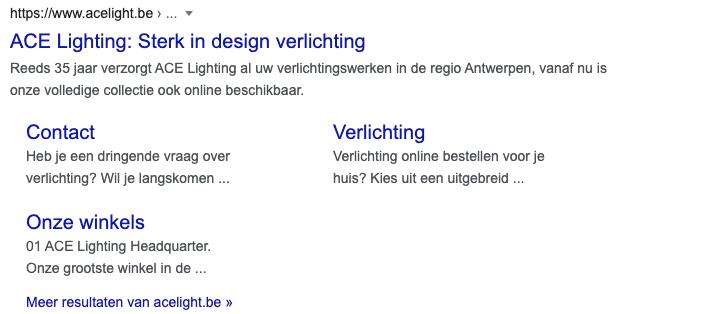 Voorbeeld van Google Preview hreflang tag Belgische website