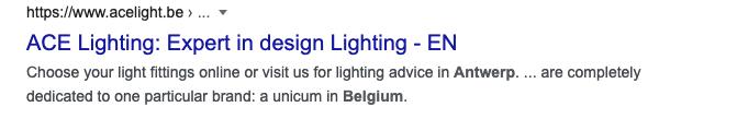 Voorbeeld van Google Preview hreflang tag Engelse website